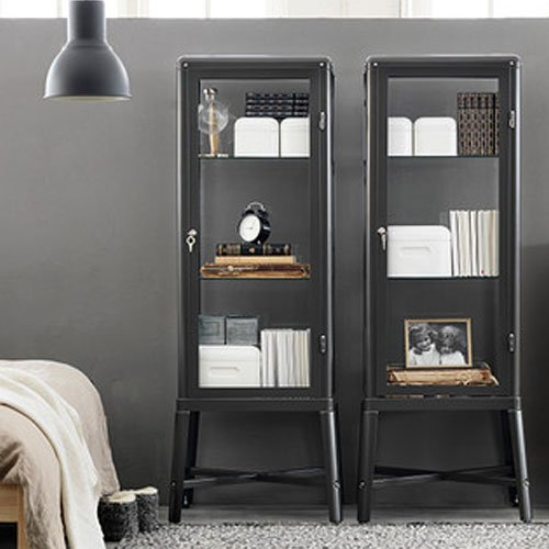 Amazon Ikea Fabrikor Glass Door Cabinet Dark Gray Lockable