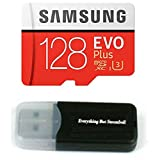 128GB Samsung Micro EVO Plus SD XC Class 10 UHS-3 Memory Card (MB-MC128) for Samsung Galaxy A8, A8+, Note 8, S8 Active, Tab A, Tab Active 2, J2, Cell Phones with Everything But Stromboli (TM) Card Reader