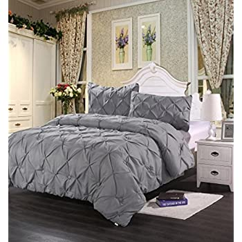 Homehug Pinch Pleat Puckering 1800TC Polyester Queen 3 Piece Comforter Set, Grey