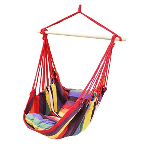 Busen Hammock Hanging Rope Chair Sky Air Hammock Swing Chair Porch Chair with Stand Cushioned Seat(Red)