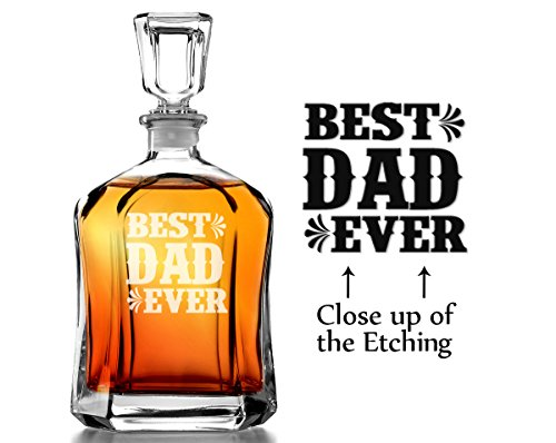 (Best Dad Ever Liquor Decanter for Dad, Father's Day, Birthday Christmas Gift Engraved (Not Customized))