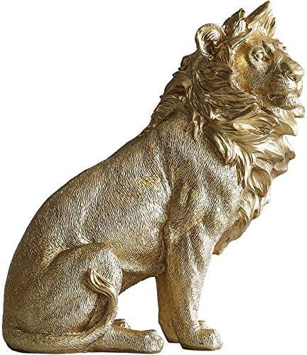 in resina motivo: animali nordici con leopardo leone LBYLYH Statuetta decorativa per la casa elefante in oro decorazione per la casa