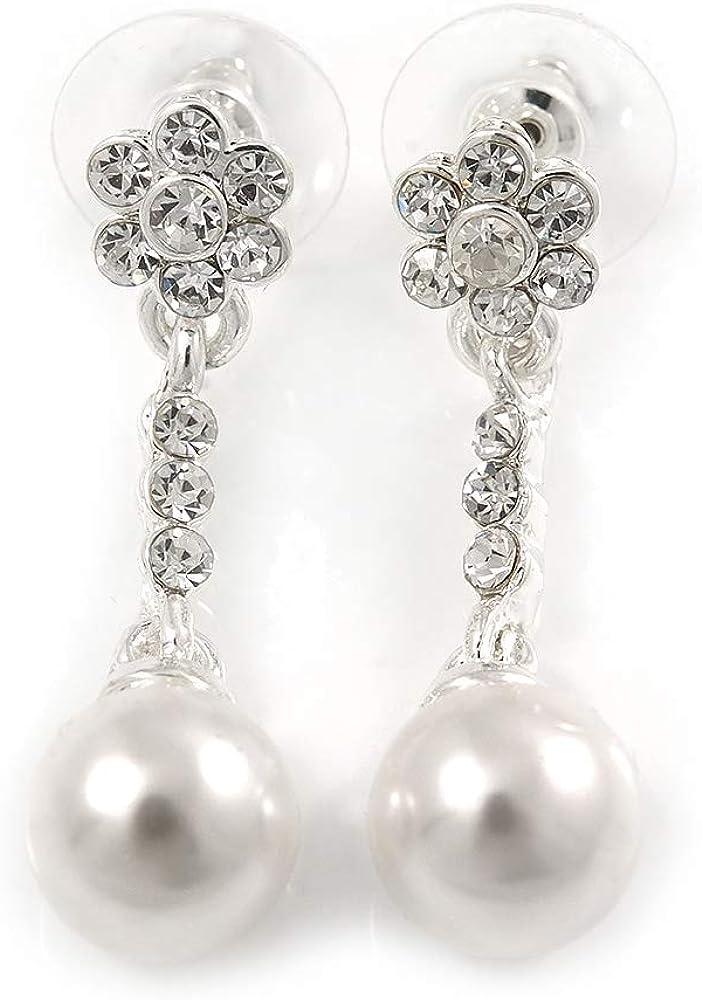 Delicados pendientes de gota de cristal florales de perlas de imitación en tono plateado, 35 mm de largo