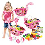 PSFS Children's Supermarket Shopping Carts Fruit Vegetable Pretend Play Children Kid Educational Toy ,Kids Gift for Ages 3+ Factory Outlet (Pink)