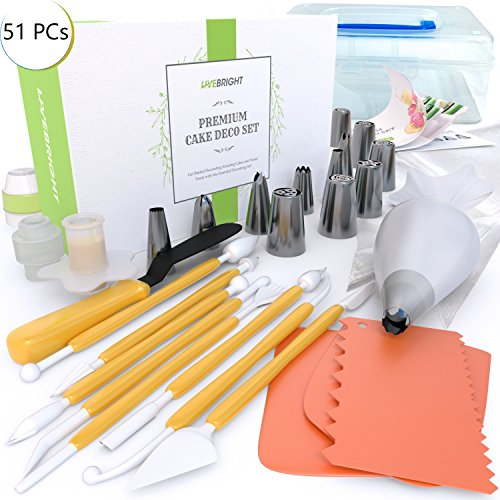 Cake Decorating Kit | 51 Pieces Bakery Supplies Set | 6 Russian Pipping | 6 Cone Tips | Spatula | 21 Pastry Bags | 3 Scrapers | Tricolor | Coupler | Cupcake Corer | 8 Fantang Tools | Guiding light | Gift Box