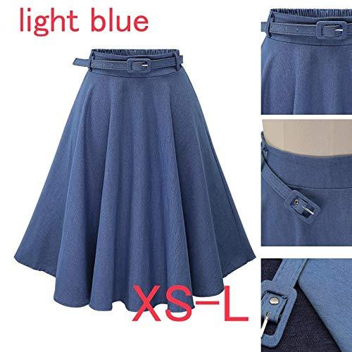 rackerose Women's Denim Skirts Elastic High Waist Thin Joker Faldas Mujer Jeans A-line Skirt Saia Midi Blue Belt(Dark Blue,M)