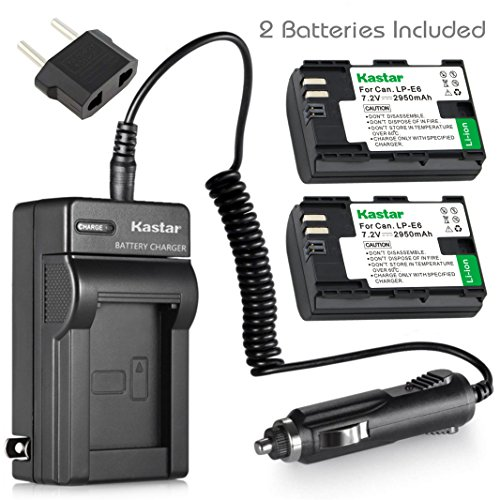 Kastar Charger and Battery 2x for Canon LP-E6 LP-E6N, Canon EOS 60D 60Da EOS 70D XC10, EOS 5D Mark II 5D Mark III 5D Mark IV, EOS 5DS 5DS R, EOS 6D 7D Mark II, BG-E14 BG-E13 BG-E11 BG-E9 BG-E7 BG-E6
