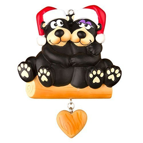 Black Bear Family - Couple Personalized Christmas Ornament by Polar X