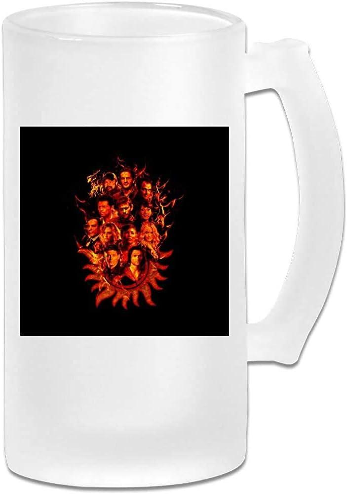 Taza de jarra de cerveza de vidrio esmerilado impresa de 16 oz - Supernatural Sketch Fire - Taza gráfica