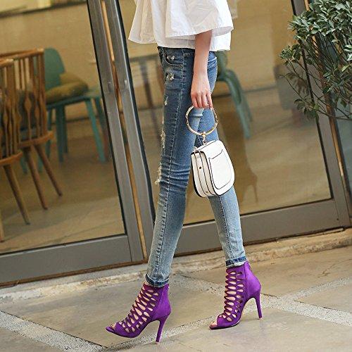 Creux Purple Haute Talons Peep Soirée De à Chaussures Daim Mariage Sandales Toe De Robe Femmes qTw6ItxHq