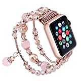 SEANADO Apple Watch Band, Fashion Handmade Elastic Stretch Faux Pearl Bracelet Replacement Women Girls iWatch Bands Strap for Apple Watch Series 3, Series 2, Series 1 (42mm Rose Gold)