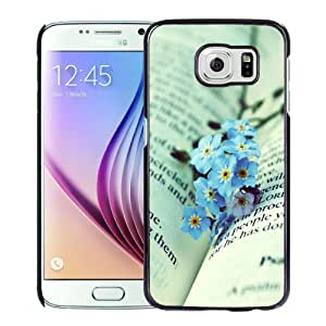 Fashionable Custom Designed Cover Case Samsung Galaxy S6 With Blue Flowers On The Book Phone Case Cover