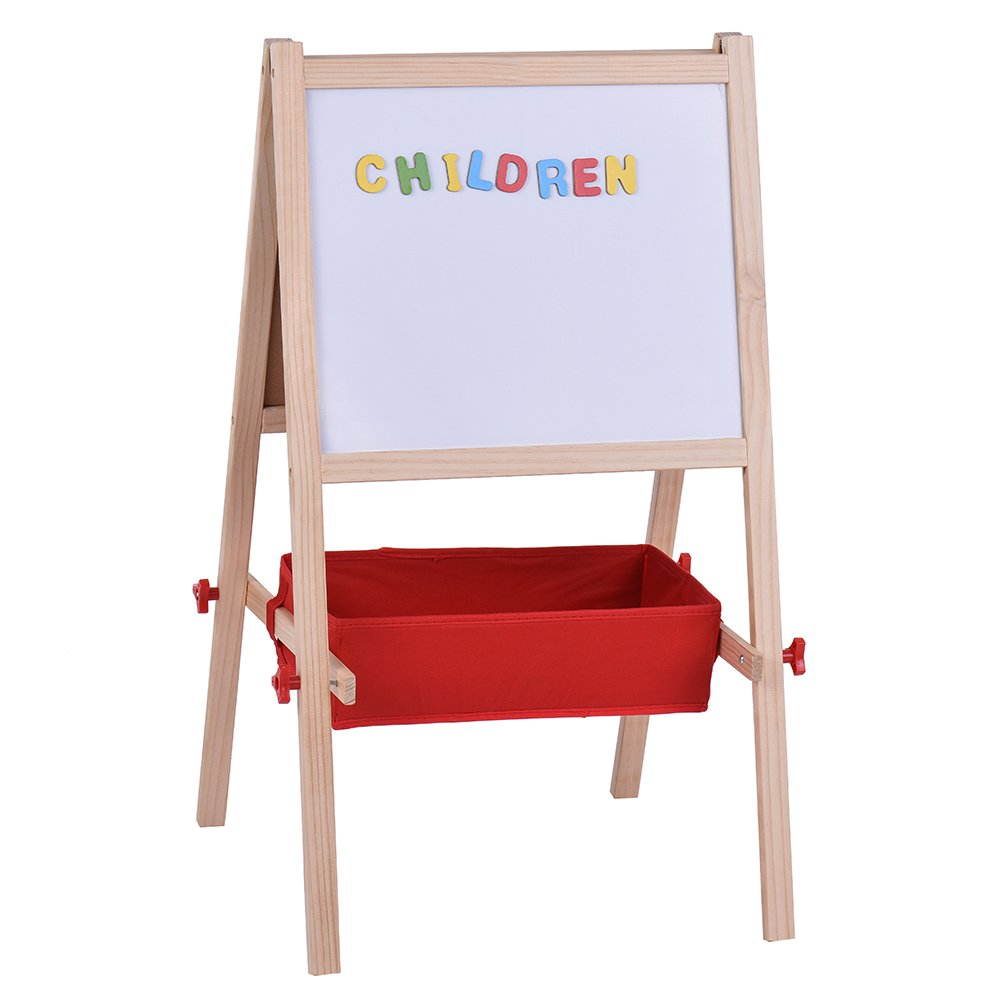 Walmeck Dual-Sided Kids Art Easel Magnetic Chalkboard with Magnetic Letters+Marker Pen+Chalks Storage Box for Kids Painting and Drawing.