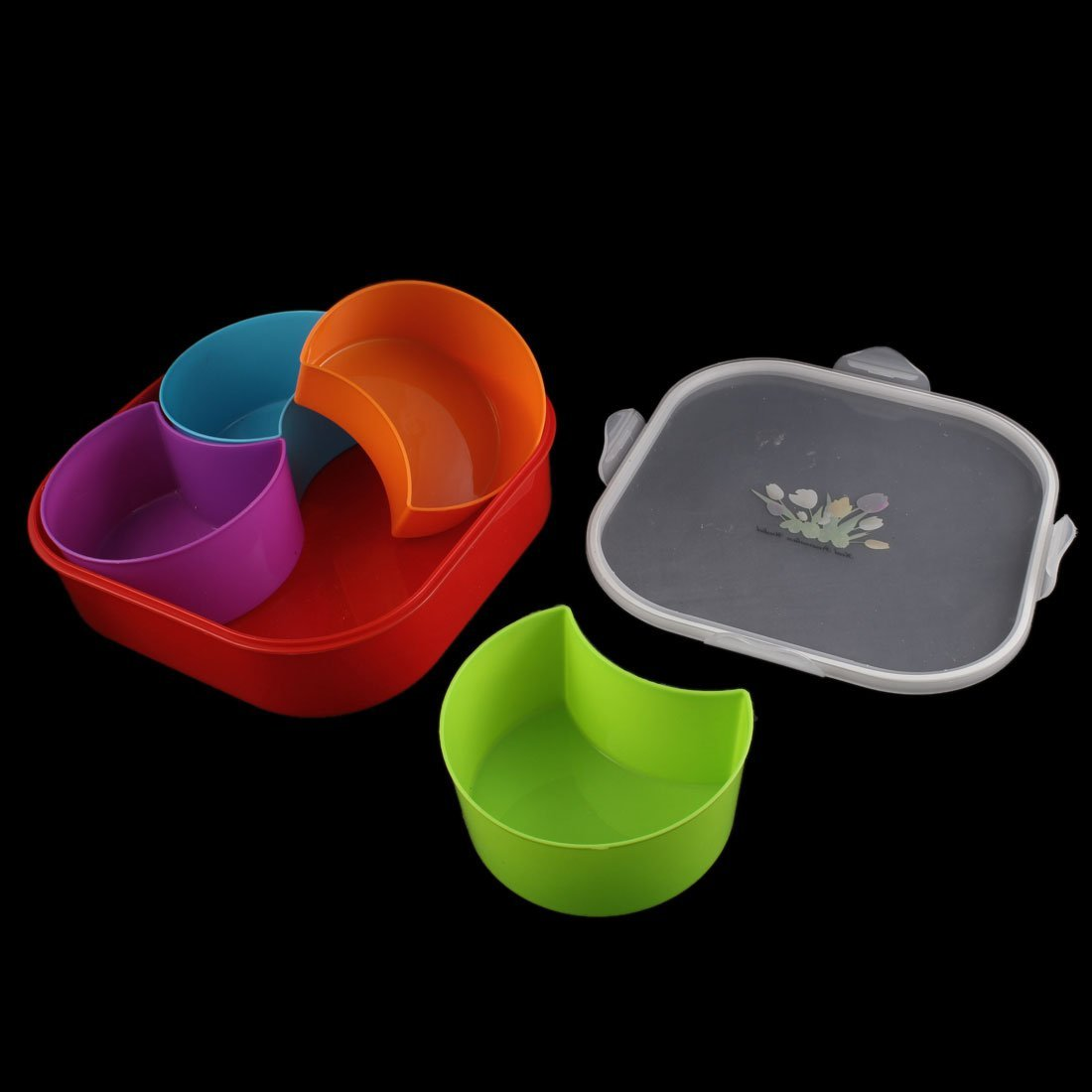 eDealMax Square Shaped 4 Components Dampproof Sealed Candy Nut Storage Box