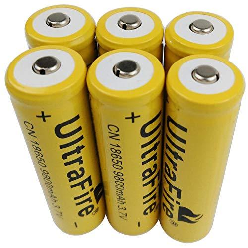 KEKJORY 6 X 3.7V 18650 9800mAh Li-ion Rechargeable Battery for Flashlight Torch LED RC
