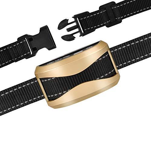GEEDIAR Bark Collar, Dog No Bark Collars Vibration No Harm Shock Collar - USB Rechargeable Humane Anti Bark Training Collar - Stop Barking Collar for Small Medium Large Dogs (Gold)