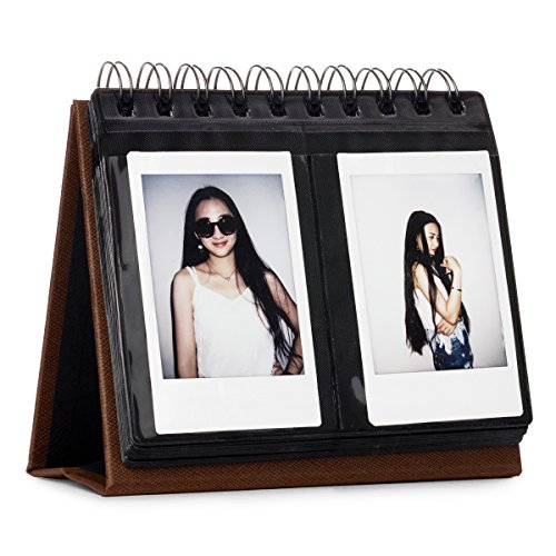 CAIUL 68 Pockets Desk Calendar Style Photo Album for Fujifilm Instax Mini 7s 8 8+ 9 25 26 50s 70 90 Films (Brown) (This Is Halloween Pics)
