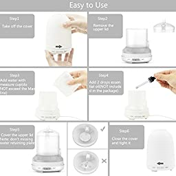 Aptoyu Aromatherapy Essential Oil Diffuser Portable Cool Mist Humidifier with Color LED Lights Changing and Waterless Auto Shut-off, 120mL