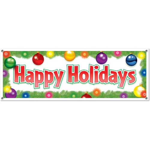 Happy Holidays Sign Banner Party Accessory (1 count) (1/Pkg) ()