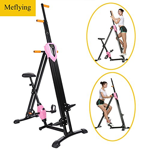 Meflying Vertical Climber, Climbing Machine - Full Total Body Workout Fitness Folding Cardio Climber Exercise Machine [US Stock] (Pink)