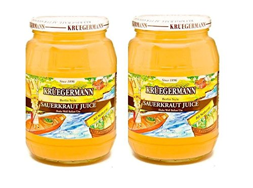 SHIPS FREE Get 2 (32 fl.oz) Jars Sauerkraut Juice By Kruegermann (64 fl.oz)