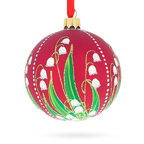 BestPysanky 1898 Lilies of The Valley Royal Egg Glass Christmas Ornament