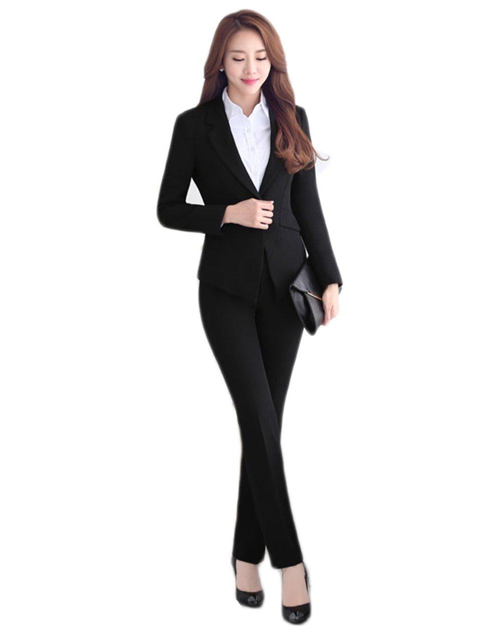SK Studio Damen Business Hosenanzuge Slim Fit Blazer Reverskragen Karriere Hosen Anzug Set SK-O-611-1-2XL