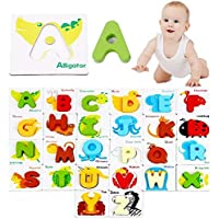 SN Toy Zone High Quality Wooden Educational Card Puzzle Sorter Shapes and Blocks Game Set with Alphabets Matching with Animals Names Toys for Kids