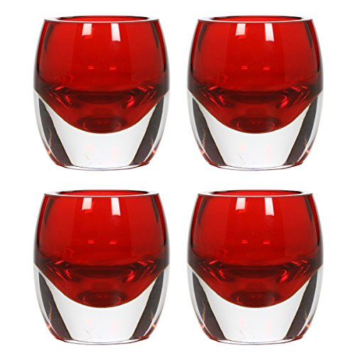 Hosleys-Set-of-4-Red-Chunky-Glass-Tea-Light-Holders-3-High