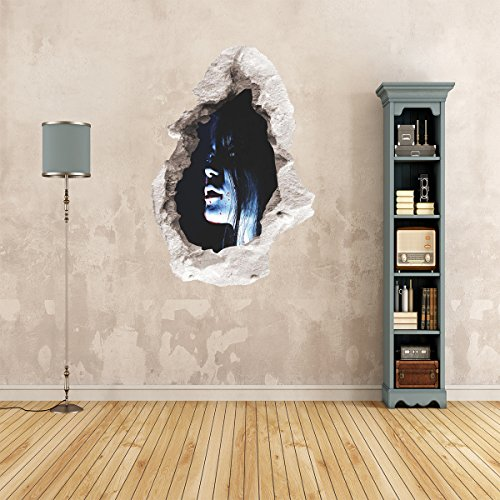 TheGag 3D Halloween Wall Decals Spooky Pale Face Zombie Girl 18 x 24 Inches-HORRIFYING Wall Decoration -
