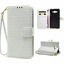 G530H Cases,Galaxy G530H Case,Gift_Source [White] Crocodile Skin Luxury [Stand Feature] Magnetic Snap Case Premium Wallet Case Flip Case Cover for Samsung Galaxy Grand Prime G530H with Hand Strap
