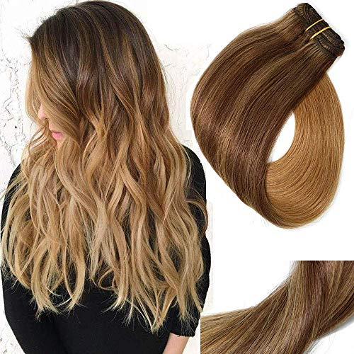 Clip In Hair Extensions Double Weft Brazilian Hair 120g 7pcs Medium Brown Fading to Golden Brown and Strawberry Blonde Highlighted Full Head Silky Straight 100% Human Hair Clip In Extensions 22 Inch (Dark Brown Hair To Medium Golden Brown)