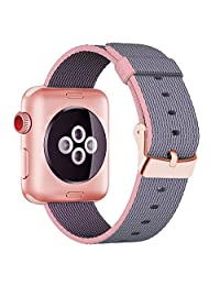 Yichan Woven Nylon Fabric Wrist Strap Replacement Band with Classic Square Stainless Steel Buckle for Apple Watch iWatch Series 1 / 2 / 3,Sport & Edition,38mm,Lightpink and Midnightblue