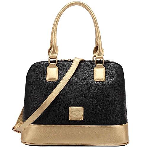 FASH Dual Tone Top Double Handle Bowling Satchel Handbag,Black,One Size (Pink Ladies Bowling Bag)