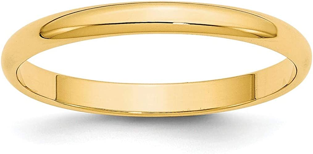 14K Yellow Gold 2.5mm Lightweight Flat Band Ring