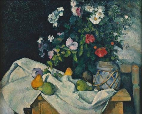 Oil Painting 'Paul Cezanne-Still Life With Flowers And Fruit,1890' 16 x 20 inch / 41 x 51 cm , on High Definition HD canvas prints is for Gifts And Bath - Is Open Beach Blizzard