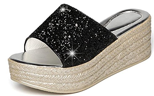 Gimekiss Pumps Women's Paillette Platform High Heel Sandals Simple Slippers Black6 B(M) US - Paillette High Heel