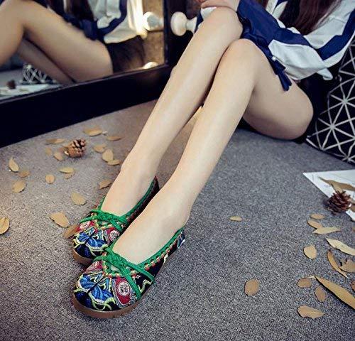 Moontang Bestickte Schuhe Sehnensohle Ethno-Stil weibliche Stoffschuhe Mode 35 bequem lässig schwarz 35 Mode (Farbe   - Größe   -) 431e60