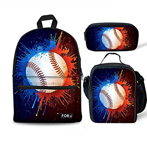 - FOR U DESIGNS School Backpack for Boys Baseball Bookbag Canvas Lightweight Lunch Bags Tote Pencil Case Set 3 Pce