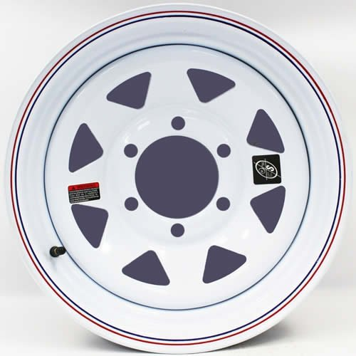 """Nice 15"""" x 6"""" White Spoke with Red and Blue Pin Stripe Trailer Wheel 6 Lug 5.5"""" Bolt Circle free shipping"""