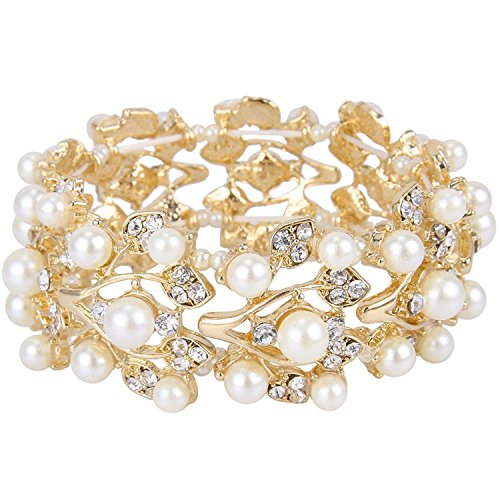 Bella-Vouge Wedding Jewelry Crystal Rhinestone Pearl Leaf Stretch Bracelet Gold-NO.157