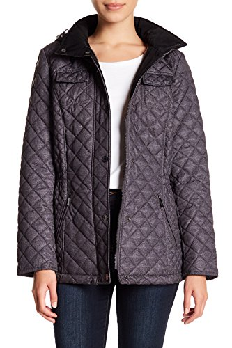Coat Laundry Quilted (Laundry by Shelli Segal Straight Quilted Hooded Jacket Coat Pitch Black (XL))