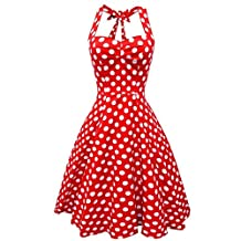 BY&M Women's Halter Polka Dots 1950s Vintage Swing Cocktail Tea Dresses