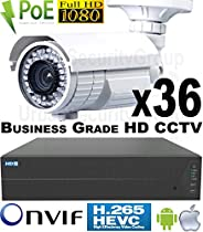 USG 36 Camera Security System * 24MP 64 Channel NVR * 36x 1080P 2MP 2.8-12mm PoE IP Bullet Cameras * 2x 4TB HDD * 2x 26 Port PoE Network Switches * Business Grade HD Video Surveillance * Phone App
