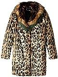 GUESS Big Girls' Faux-Fur Coat, Leo Beige Combo, 8