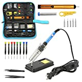 Qimh Soldering Iron Kit,60W 110V Adjustable Temperature 23-In-1 Welding Soldering Iron with ON/OFF Switch,5 Different Tip,Soldering Sucker,Desoldering Pump,2Anti-Static Tweezers,Wire cutter,wire,stand