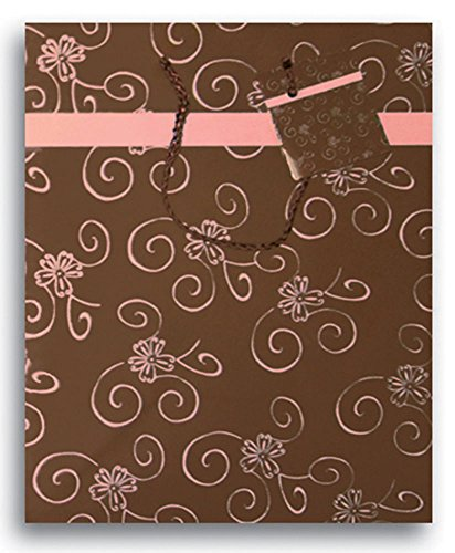 """9"""" Medium Printed Paper Party Supplies Favor Gift Bags with Handle (Pink Chocolate Swirl)"""