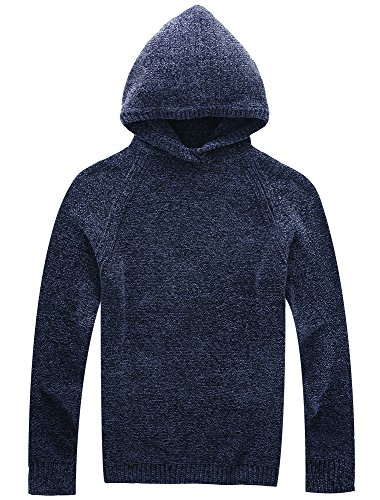 Vcansion Men's Chenille Hooded Pullover Sweater Knitted Cardigan Soft Cozy Blue XL ()