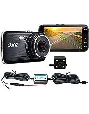 "Elinz 4"" Dash Cam Dual Camera Reversing Recorder Car DVR Video 170 Degree Full High Definition 1296P 4.0 LCD Parking Wire Novatek 96658 WDR 12MP G-Sensor Loop Recording Night Vision Hardwire Charger Motion Detection Built-in Mic"