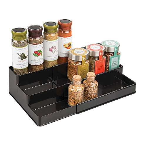 (mDesign Plastic Adjustable, Expandable Kitchen Cabinet, Pantry, Shelf Organizer/Spice Rack with 3 Tiered Levels of Storage for Spice Bottles, Jars, Seasonings, Baking Supplies - Black)